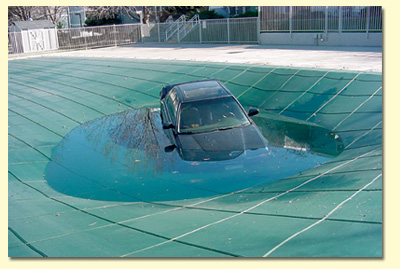 Car on Pool Cover, Coverstar Safety Covers OBX